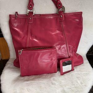 Jones New York Pink Leather shoulder bag VGUC